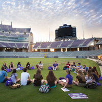 Students on football field