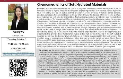 CHEG Fall Seminar Series: Chemomechanics of Soft Hydrated Materials