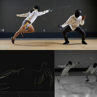 Two people fencing wearing motion capture sensors.