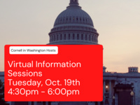 """Picture of Capitol Hill, """"Cornell in Washington hosts Virtual Information Session, Tuesday, Oct. 19th 4:30pm - 6:00pm"""