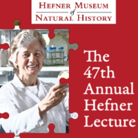 """Rita Colwell image is placed on a puzzle piece featuring her standing in her lab. The image also contains the detail of the Hefner Lecture. Additional text states, """"The 47th Annual Hefner Lecture."""""""