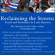 Event Poster featuring people in the streets waving a Cuban flag