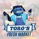 Toro's Fresh Market. There is an image of Toro (TCC's mascot) wearing an apron and holding bags of food.