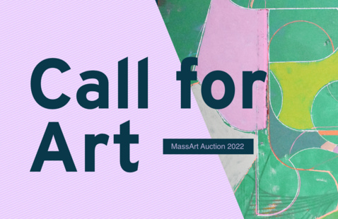 """2022 MassArt Auction Call for Art Banner featuring """"Labyrinth,"""" by Mary Hughes M'95"""