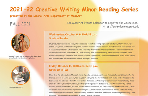 Poster of Creative Writing Minor Reading Series, orange and yellow bubbles.