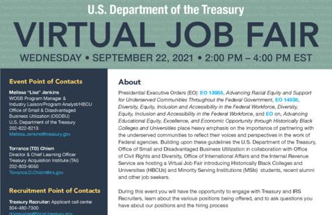 U.S. Department of Treasury Virtual Job Fair