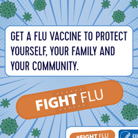Flu graphic from CDC saying get a flu vaccine to protect yourself, your family, and your community