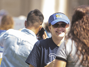 Students gather outside the Cathedral for the Activities Fair.
