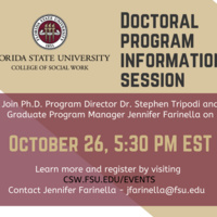 Flyer for Doctoral Program Info Session on October 26 at 5:30 PM via Zoom