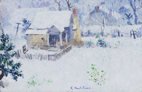 Gari Melchers, Cottage in Snow, between 1917 and 1922, oil on canvas, Gari Melchers Home and Studio, University of Mary Washington