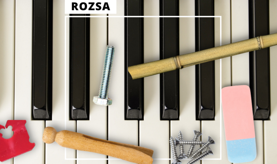 Common household items, including nails, bolts, a bread tie, and clothespin on piano keys