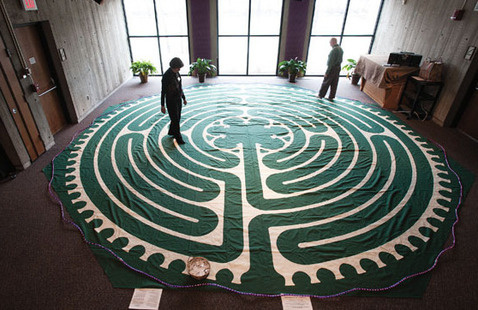 two people walking a labyrinth