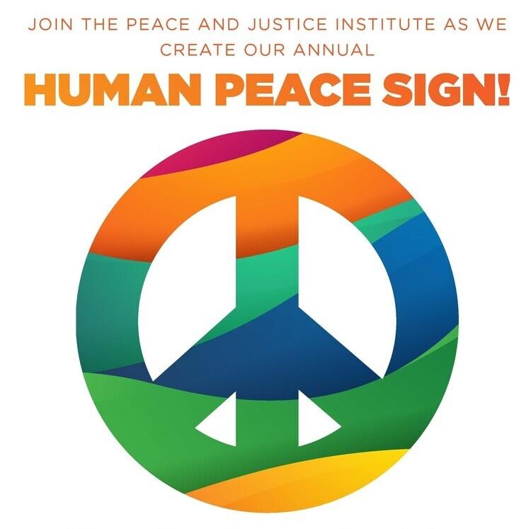 Human Peace Sign