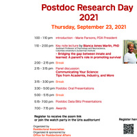 Postdoc Research Day 2021, Thursday September 23!