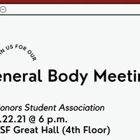 Honors Student Association General Body Meeting - September 2021