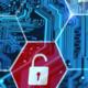 unlocked lock on a digital background