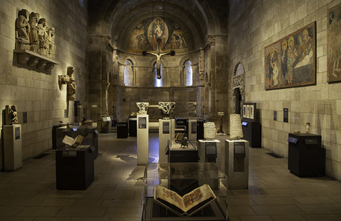 Spain, 1000-1200: Art at the Frontiers of Faith. Installation, Fuentidueña Chapel Gallery, The Met Cloisters. Photographer: Andrew Winslow.