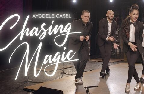 Text that reads Ayodele Casel Chasing Magic next to three tap dancers