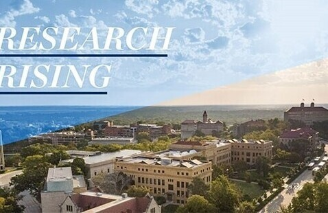"""Graphic of KU's Lawrence campus with the words """"Research Rising"""" on top"""