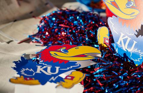 KU Jayhawk decorations at a tailgate