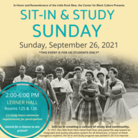 Sit-In and Study Sunday flyer for 9/26/21 at 2pm in Lerner Hall