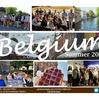 """Text of """"Belgium, Summer 2022"""" superimposed onto various pictures of students in Belgium."""