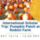 Photo of orange pumpkins on green grass, covered on the right side by an yellow circle overlay. Bottom half is white background with blue and gray text. Text reads: International Scholar Trip: Pumpkin Patch at Rodoni Farm SAT 10/16 - 13:00 PDT