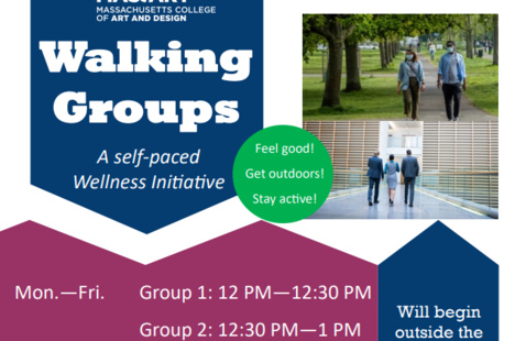 MassArt Walking Groups Flyer; Photos of people walking, shapes in blue and plum