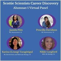 """graphic on blue with title """"Scottie Scientists Career Discovery"""" with photos of young alums"""