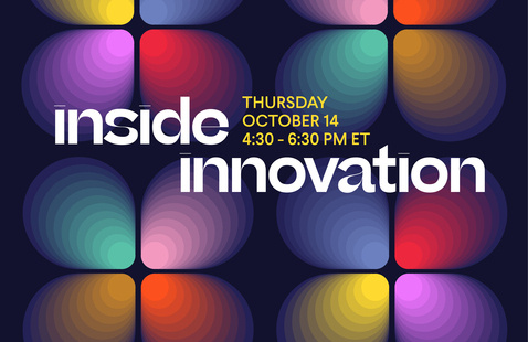 """Multi-colored clover icons sit under text that says """"Inside Innovation Thursday, October 14 4:30-6:30pm ET"""""""