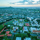 Aerial view of Chaminade University with Diamond Head in the background