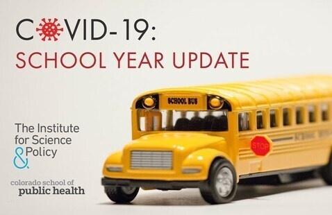 COVID-19: School Year Update Webinar flyer with school bus on it