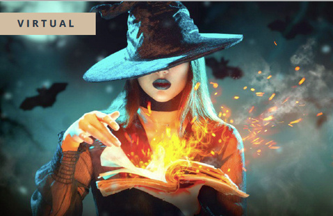Witch with fire for halloween