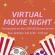 """Image description:  Graphic has an red background with pink text in the middle and yellow sparkles against the background color.  At the bottom of the graphic is two images of popcorn cartons and two film reels. One reel has dark green accents and dark purple film and the other has black accents and grey film.  The text in the middle says: """"Virtual movie night taking place on the LGBTESS Discord Server! Sun, October 3rd, 6:30 - 8:30 pm"""".  End description."""