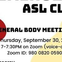 ASL Club First GBM Fall 2021