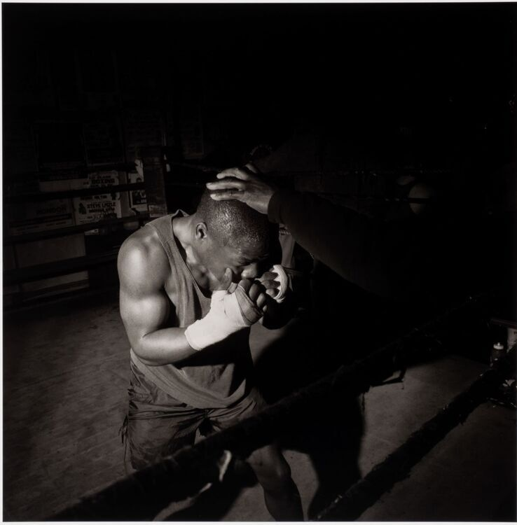 Larry Fink (American, born 1941), Champs Gym, Philadelphia, PA, January, 1993, 1993 (printed 2019), archival pigment print. Gift of Kevin and Delia Willsey, 2020.6.12. © Larry Fink. Photo credit: Richard Walker