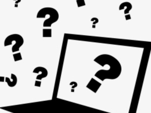 computer graphic with question marks surrounding it