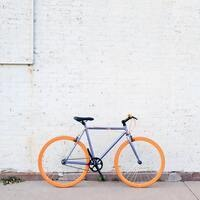bicycle with orange tires
