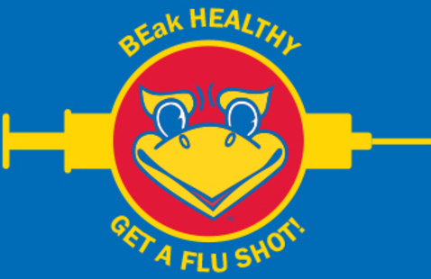 Graphic of the smiling beak Jayhawk imposed on top of an illustration of a large needle. Text reads: Beak Healthy - Get a Flu Shot!