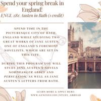 Spend your spring break in England - ENGL 281: Austen in Bath