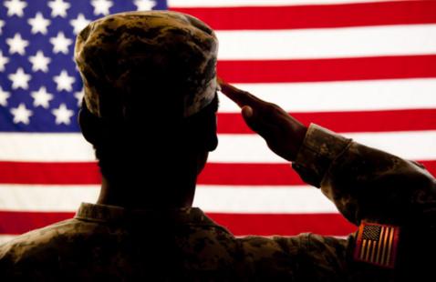 Soldier saluting American flag