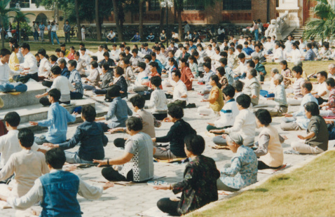 A large crowd of people sitting outside meditating