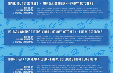 National Tutoring Week Schedule of Events