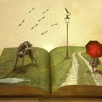 fantastical characters emerging from a book