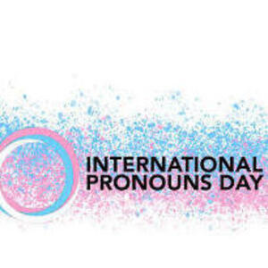 """text """"international pronouns day"""" with blue, white, and pink logo"""