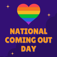 National Coming Out Day text with rainbow heart