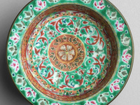 Thailand, 19th century. Porcelain tray with overglaze enamels. Gift of Ruth B. Sharp.