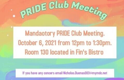 PRIDE Club First Meeting Mandatory Meeting