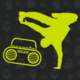 Break-dancer in a move, looming over a boombox in neon yellow, with a gray on gray background of cartoon ghosts