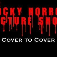 """The title """"The Rocky Horror Picture Show"""" in red, dripping font + the sub-title """"Cover to Cover"""" in bold white font on a black background."""